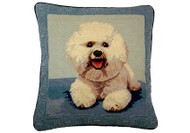 Bichon Frise Needlepoint Pillow on Blue