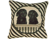 Black Lab Puppies Needlepoint Pillow