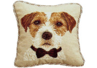 Jack Russell with Bow Needlepoint Pillow