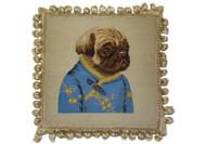 Pug Girl in Blue Jacket Needlepoint Pillow