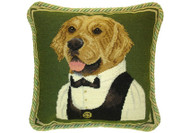 Golden Retriever Dressed Needlepoint Pillow