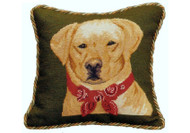 Yellow Lab in Bandana Needlepoint Pillow