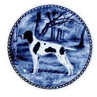 Pointer Danish Blue Dog Plate