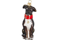 Greyhound Glass Christmas Ornament Brown and White