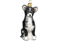 Chihuahua Glass Christmas Ornament (Black & White)