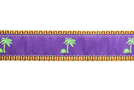 Palm Tree Dog Collar and Leash (Purple)