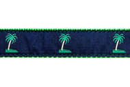 Palm Tree Dog Collar and Leash (Navy II)