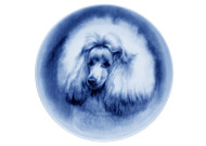 Poodle (White) Face Danish Blue Dog Plate