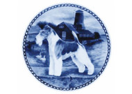 Wire Fox Terrier Danish Blue Dog Plate