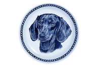Dachshund (Smooth) Face Dachshund Danish Blue Dog Plate