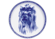 Yorkie Face Danish Blue Dog Plate