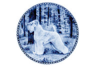 Wheaten Terrier Danish Blue Dog Plate (# 2)