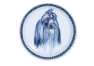 Shih Tzu Face Danish Blue Dog Plate