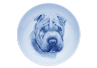 Sharpei Face Danish Blue Dog Plate