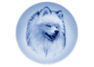 Samoyed Face Danish Blue Dog Plate
