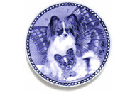 Papillon Puppy Danish Blue Dog Plate