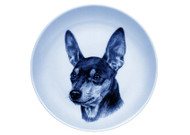 Miniature Pinscher Face Danish Blue Dog Plate