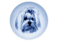 Maltese Face Danish Blue Dog Plate