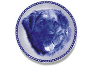 Leonberger Face Danish Blue Dog Plate