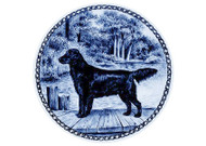 Flat Coated Retriever Danish Blue Dog Plate