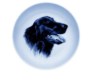 Flat Coated Retriever Face Danish Blue Dog Plate