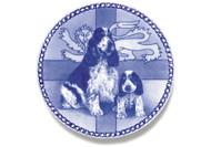 English Cocker Spaniel Puppy Danish Blue Dog Plate
