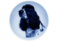 English Cocker Spaniel Face Danish Blue Dog Plate