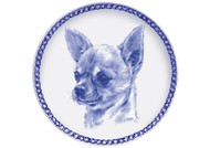 Chihuahua Face Danish Blue Dog Plate