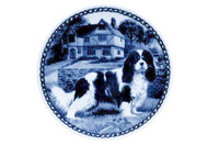 Cavalier King Charles Spaniel (Tri Color) Danish Blue Dog Plate