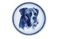 Boxer Face Danish Blue Dog Plate (# 2)