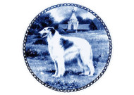 Borzoi Danish Blue Dog Plate