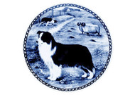 Border Collie Danish Blue Dog Plate (# 2)
