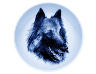 Belgian Tervuren Face Danish Blue Dog Plate