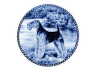Welsh Terrier Danish Blue Dog Plate