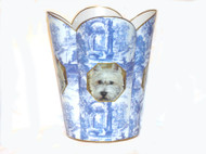 Decoupage Tin Wastepaper Basket in Blue Toile - Select Your Breed