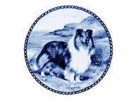 Sheltie Danish Blue Dog Plate