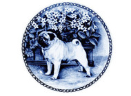 Pug Danish Blue Dog Plate