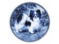 Papillon Danish Blue Dog Plate