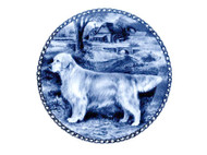 Golden Retriever (Dark) Danish Blue Dog Plate