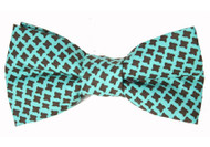 Teal Houndstooth Bow Tie For Dogs