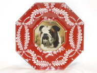 "Bulldog 5"" Decoupage Dog Plate"