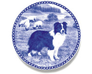 Border Collie Danish Blue Dog Plate