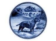 Black Labrador Retriever Danish Blue Dog Plate