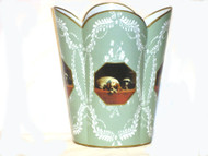 Decoupage Tin Wastepaper Basket With Sage Provencial Print - Select Your Breed