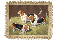 Basset Hounds Needlepoint PIllow