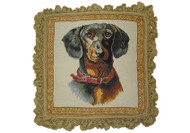 dachshund needlepoint pillow with fringe