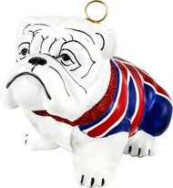 Bulldog Christmas Ornament with Union Jack Flag Coat