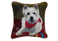 Westie with Ball Needlepoint Pillow 14""