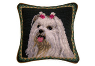 Maltese Needlepoint Pillow 10""