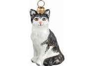 American Shorthair Cat Glass Christmas Ornament (Gray & White)